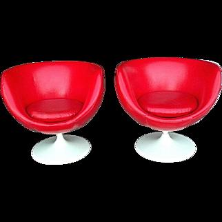 Pair Of Mid Century Modern Red Vinyl Egg Shell Swivel Tub Chairs