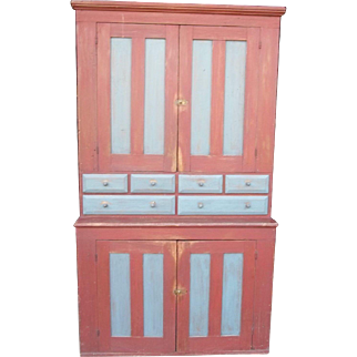 Antique Early 19th Century Paneled Door Stepback Apothecary Cupboard With Spice Drawers