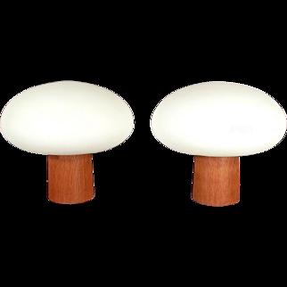 Pair Of Mid Century Modern Laurel Frosted Milk Glass Mushroom Lamps On Teakwood Base
