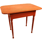 19th Century New England Red Painted Tap Table