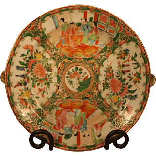 19th Century Chinese Rose Medallion Hot Water Plate
