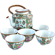 19th Century Rose Medallion Teapot and Teacups