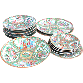 19th Century Chinese Export Rose Medallion Plates