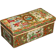 Chinese Export Porcelain Rose Medallion Razor Box and Cover