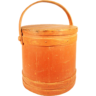 19th Century Red Painted New England Softwood Firkin or Sugar Bucket