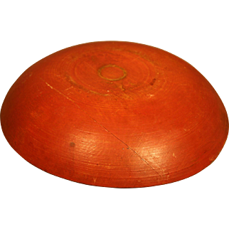 19th Century Turned Treen Bowl in Old Red Paint