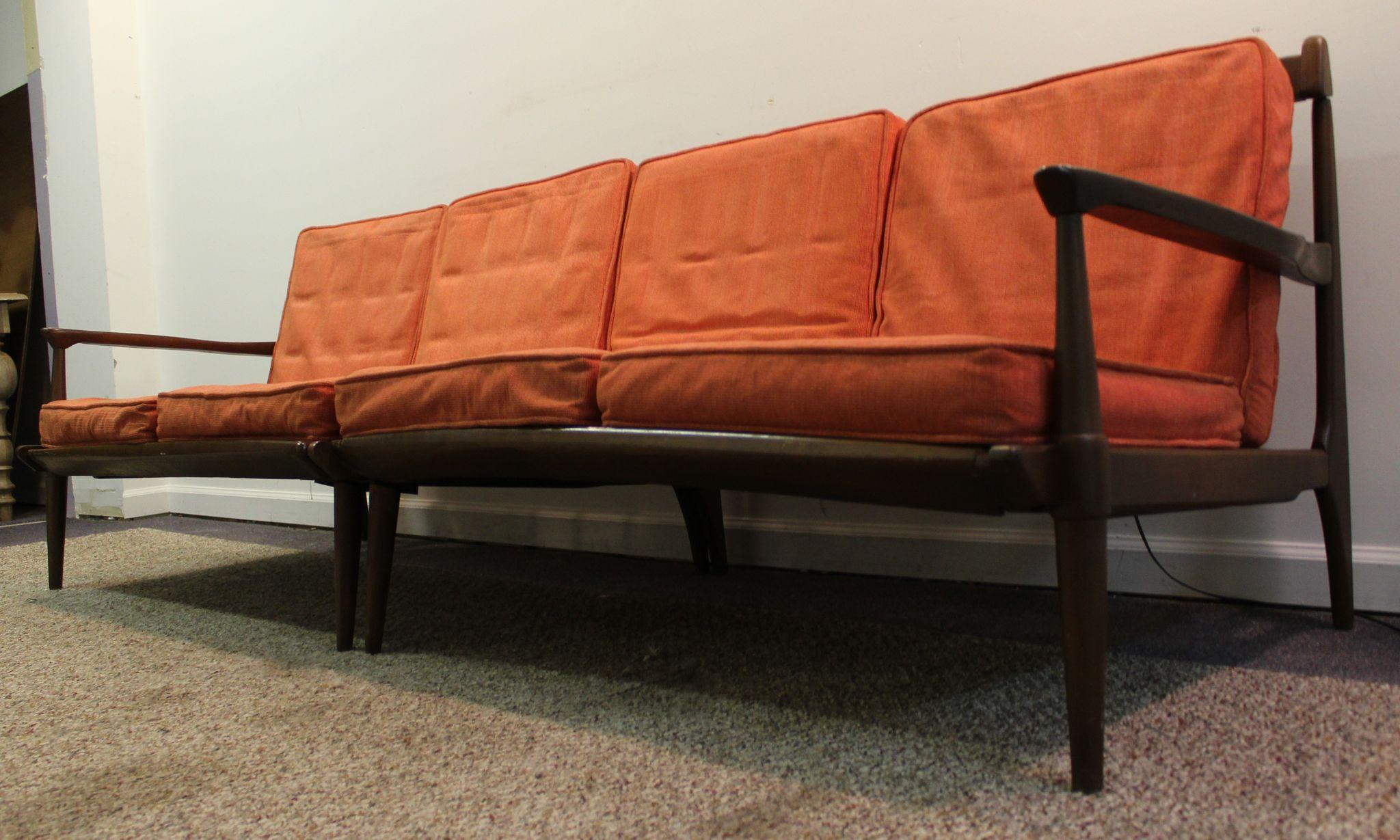 Mid Century Danish Modern Walnut Two Piece Sectional Sofa on