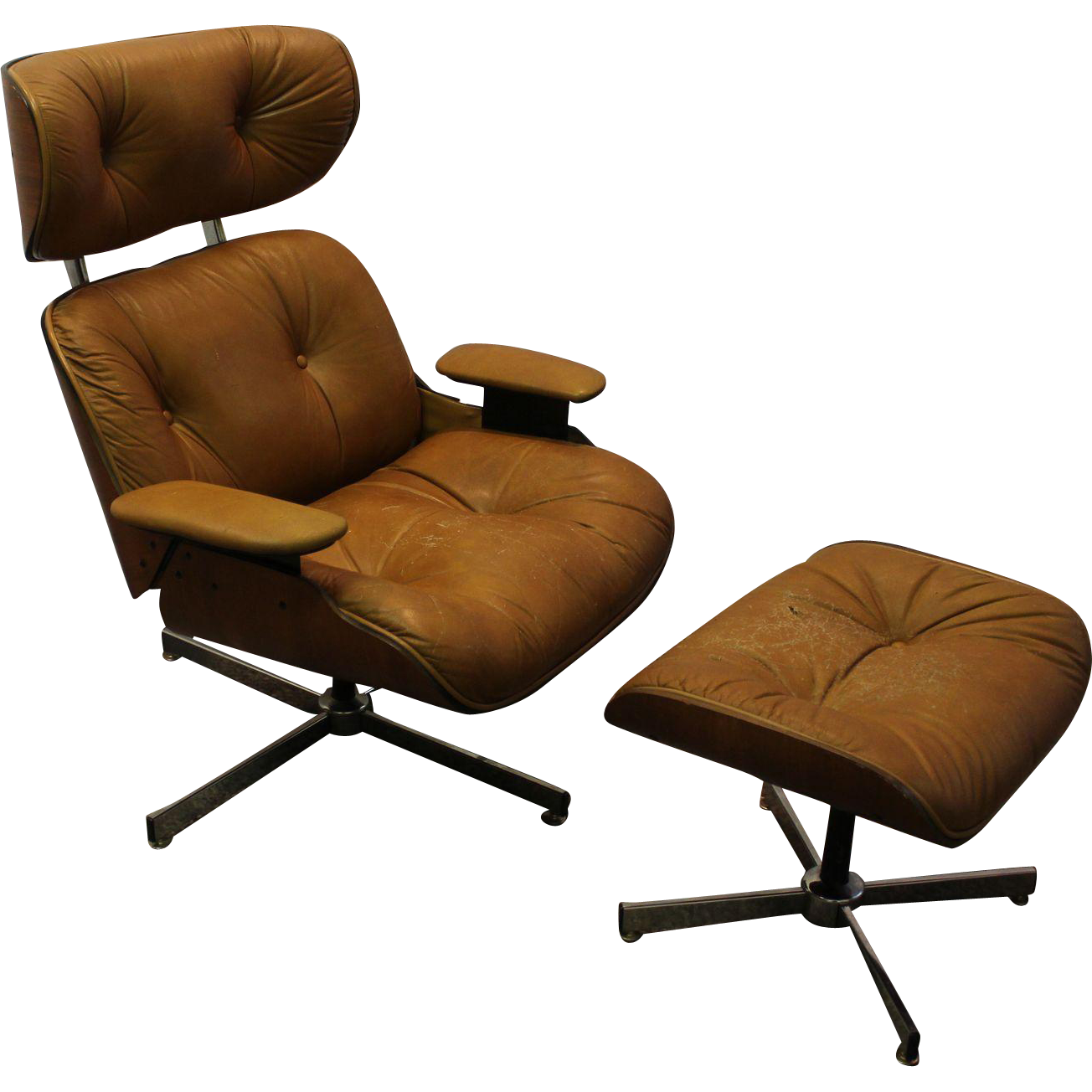 Mid Century Danish Modern Selig Eames Lounge Chair & Ottoman 2 from anne