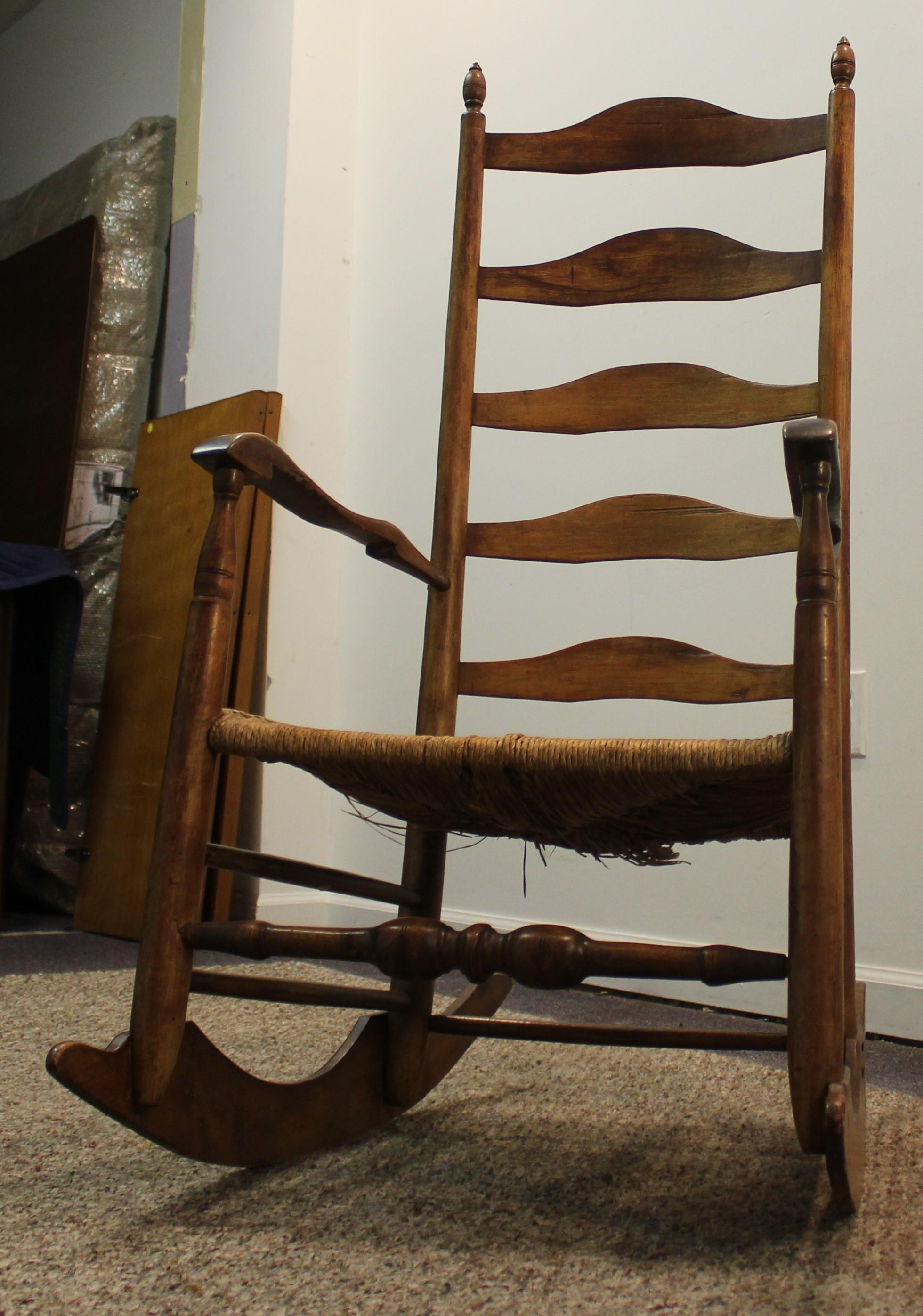 Antique 1800 s Ladder Back Rush Seat Rocking Chair SOLD on Ruby Lane