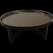 Mid Century Danish Modern Baker Round Flared Edge Walnut Coffee Table