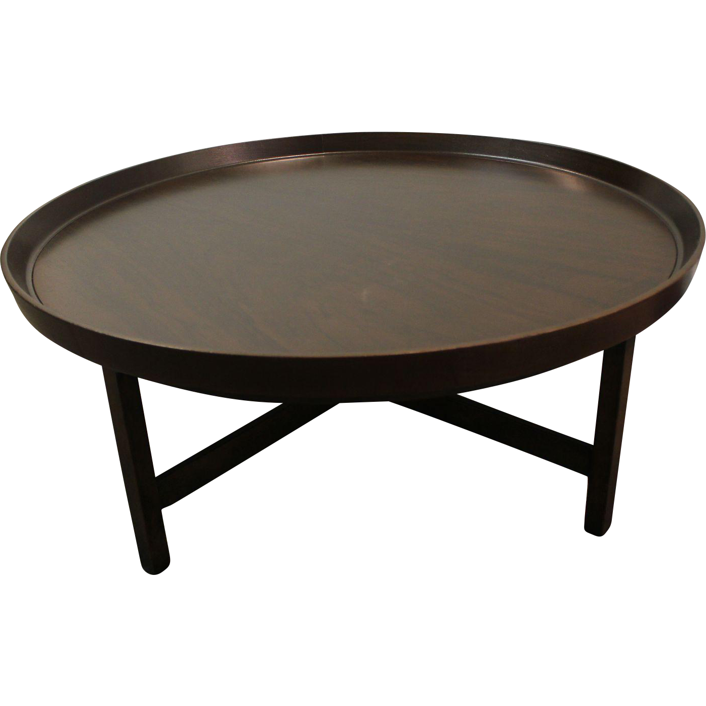 Mid Century Danish Modern Baker Round Flared Edge Walnut Coffee