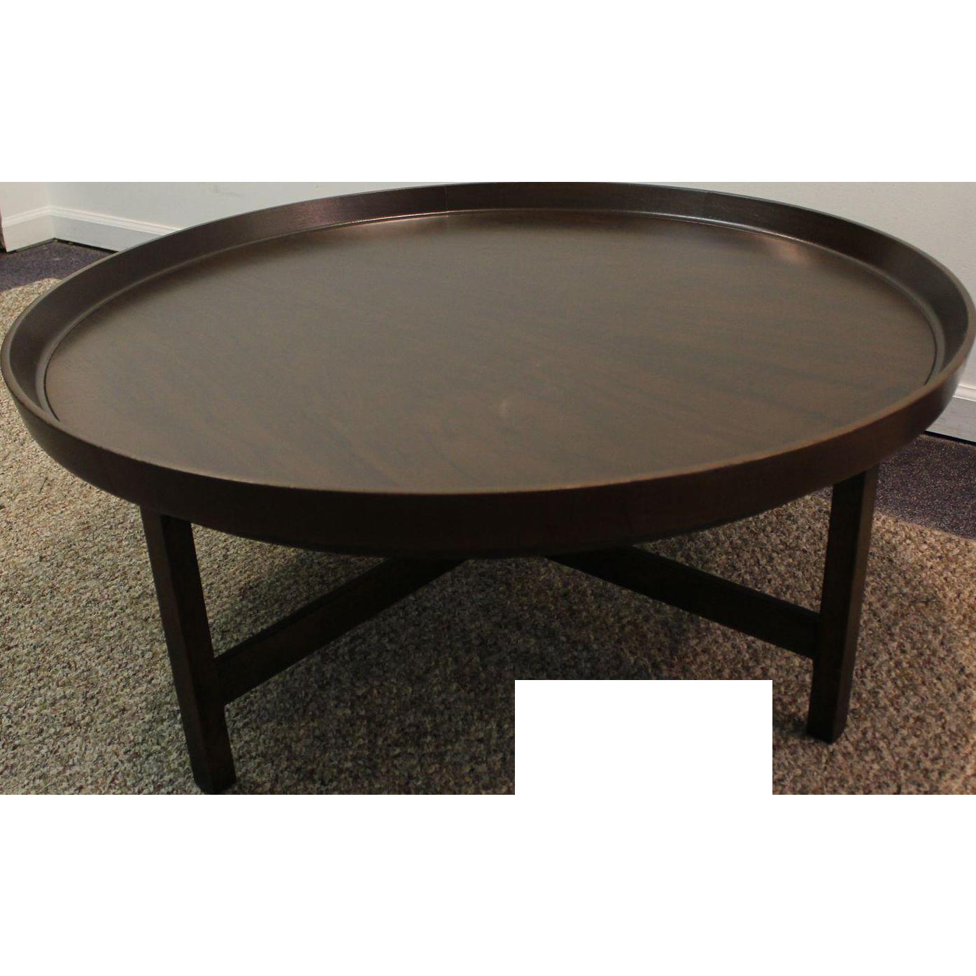 mid century danish modern baker round flared edge walnut coffee