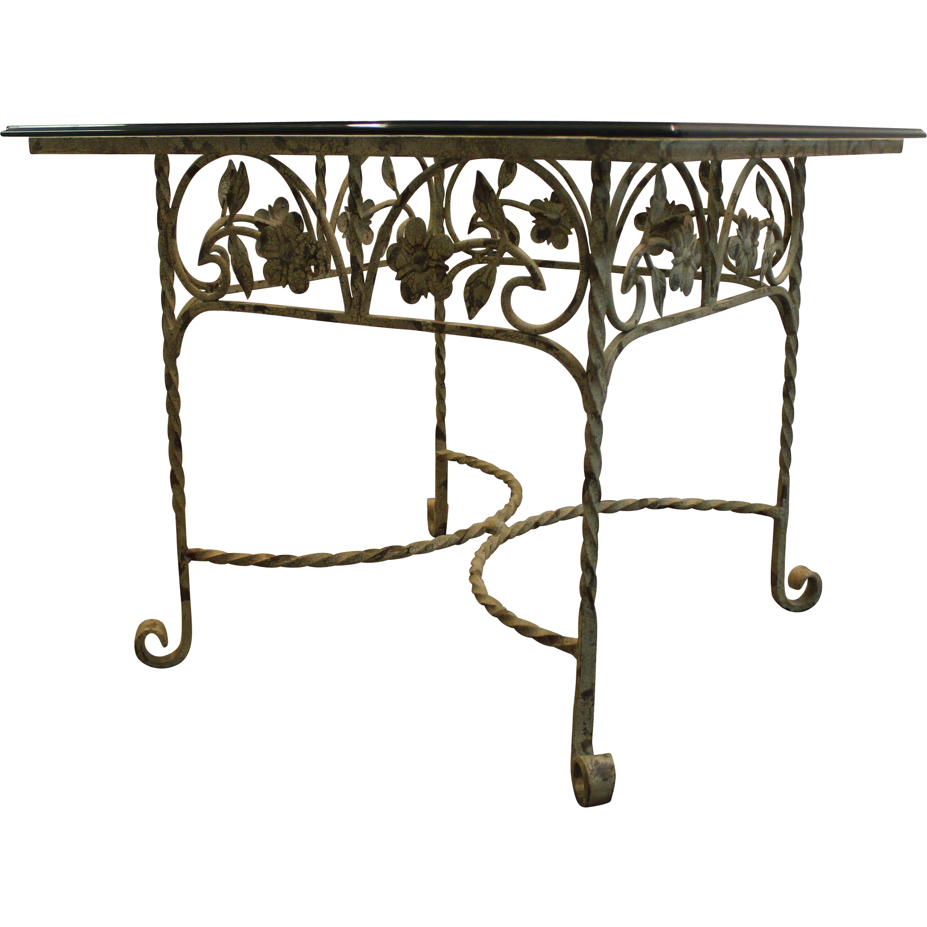 Wrought Iron Cocktail Side Glass Top Table w Floral Design Base
