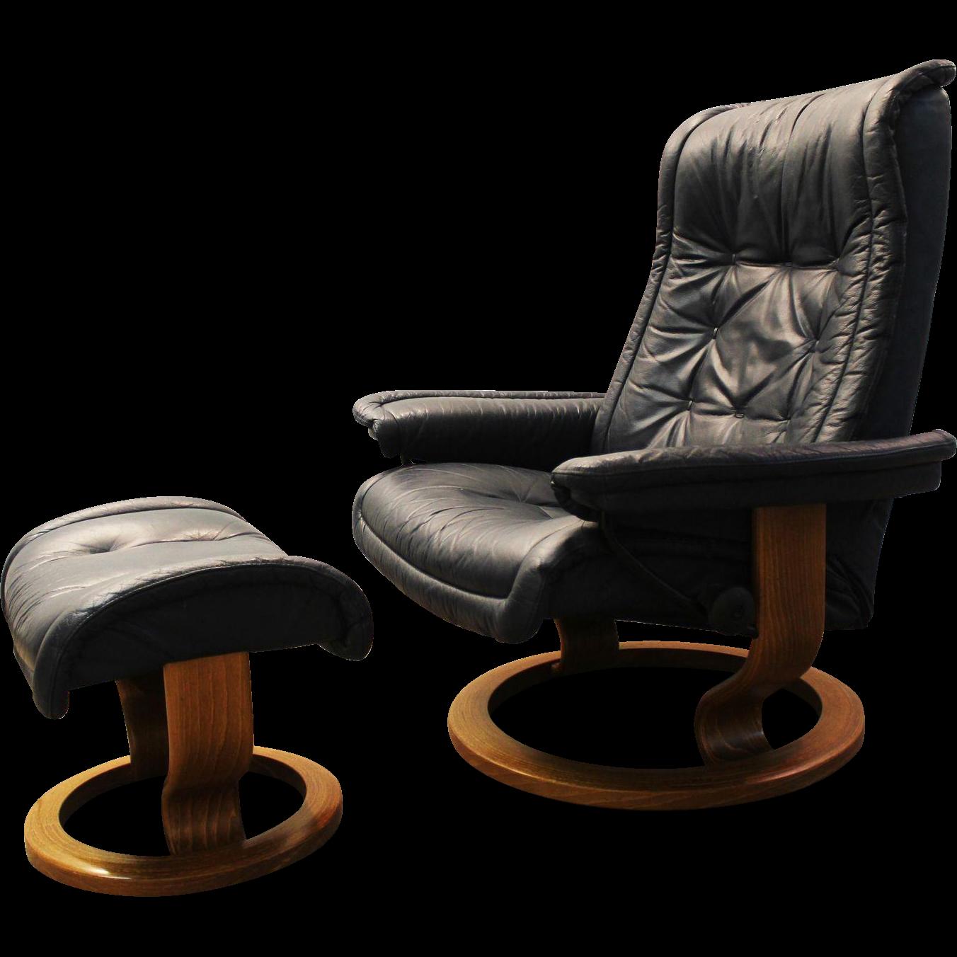 Mid Century Modern Ekornes Stressless Leather Recliner Chair/Ottoman  sc 1 st  Ruby Lane & Mid Century Modern Ekornes Stressless Leather Recliner Chair ... islam-shia.org