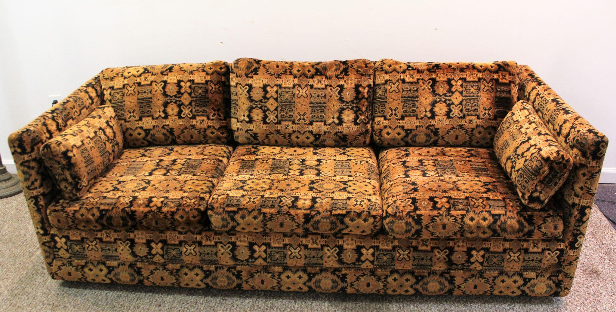 Vintage 1970s Mid Century Modern Milo Baughman Sofa Couch