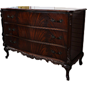 Vintage French-Style Flamed Mahogany Carved Dresser