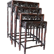 Set of 4 Antique Asian Rosewood Nesting Tables