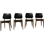 Set of 4 Mid Century Danish Modern Walnut Floating Seat Volther-style Chairs