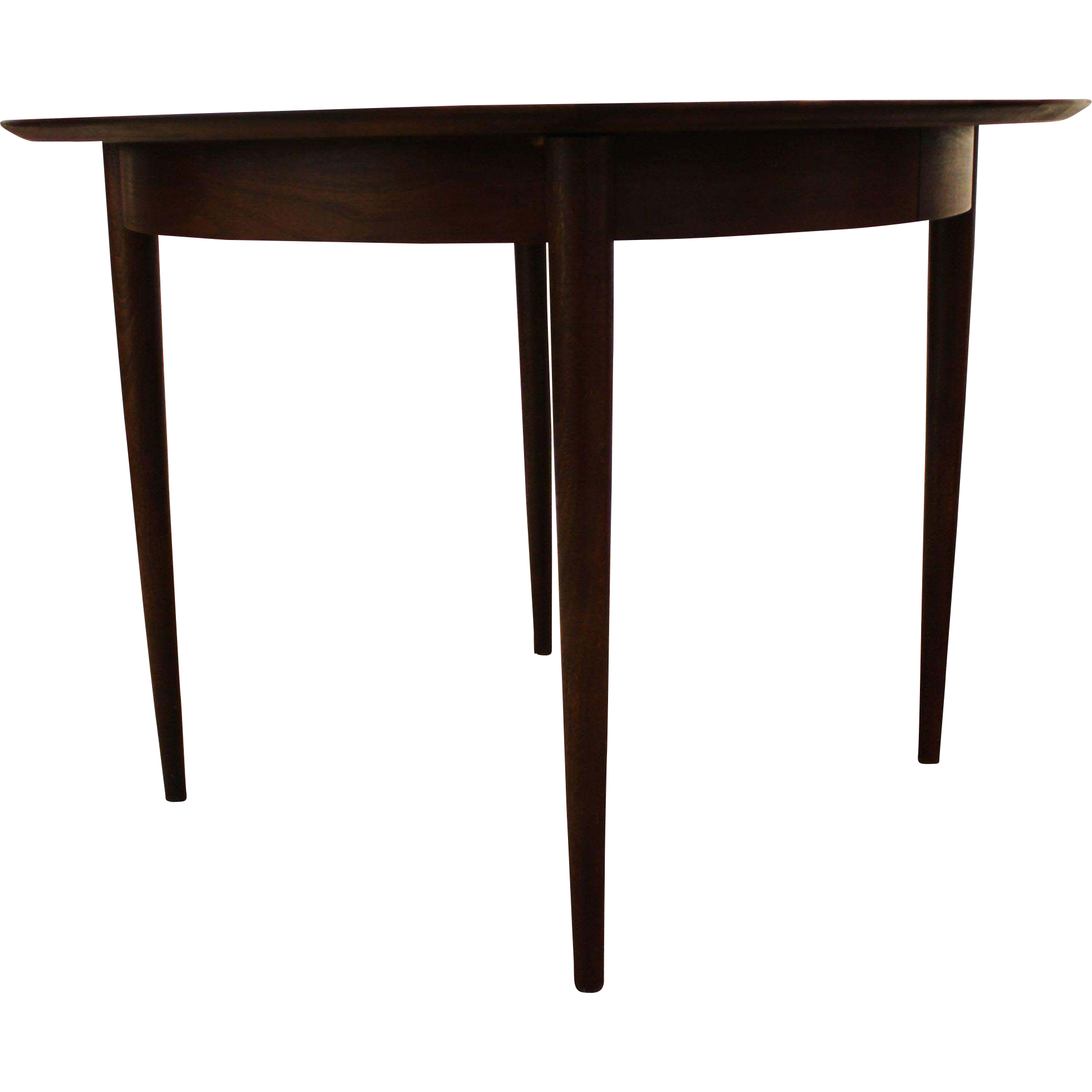 Mid Century Danish Modern Unusual Round Walnut Dining Table W From