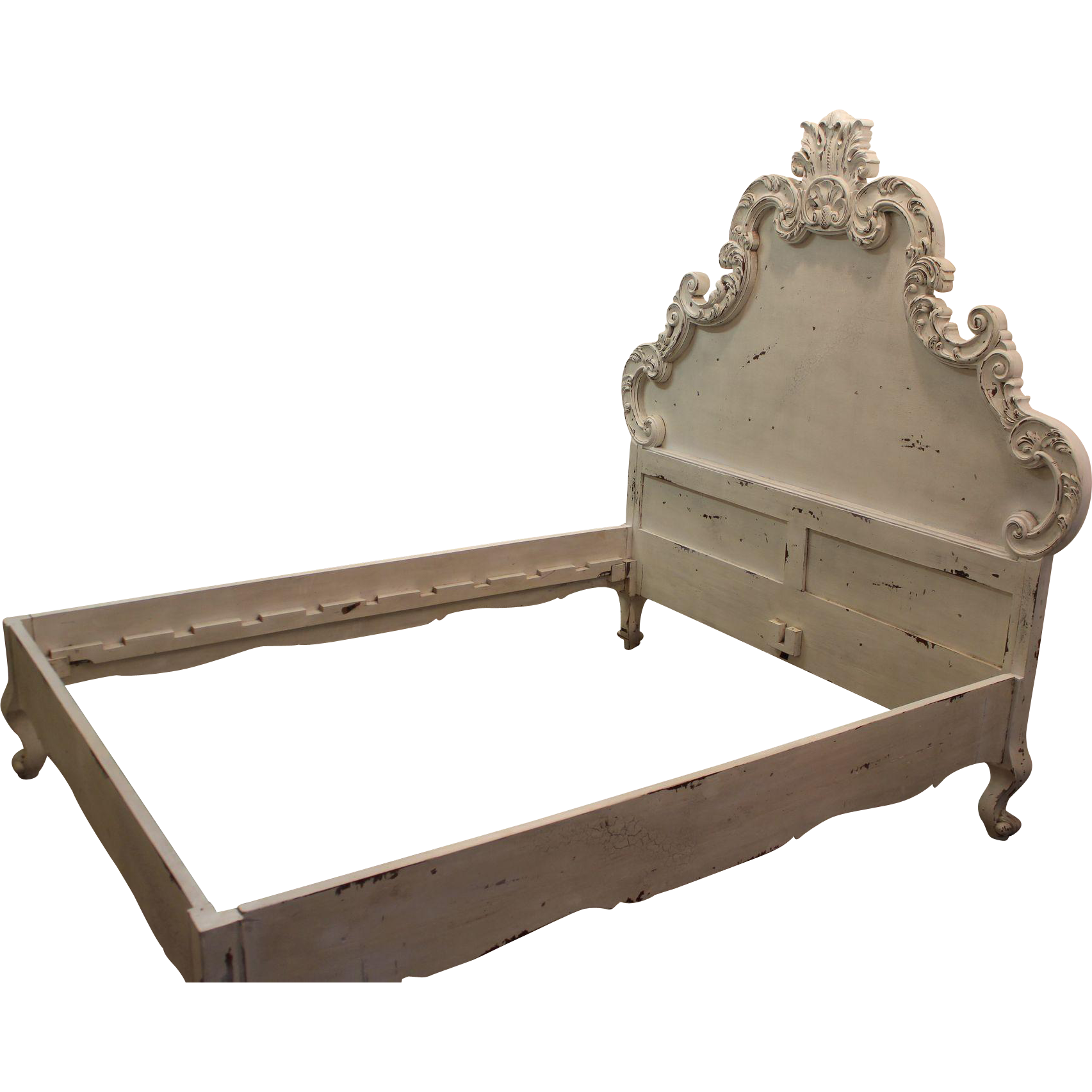 Distressed Bed Frame Rusko Ivory Single