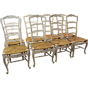 Set of 8 Country French 4 Rung Rush Seat Ladderback White Dining Chairs