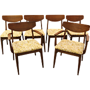 Set of 6 Mid-Century Modern H. Paul Browning Walnut Shell-Back Dining Chairs
