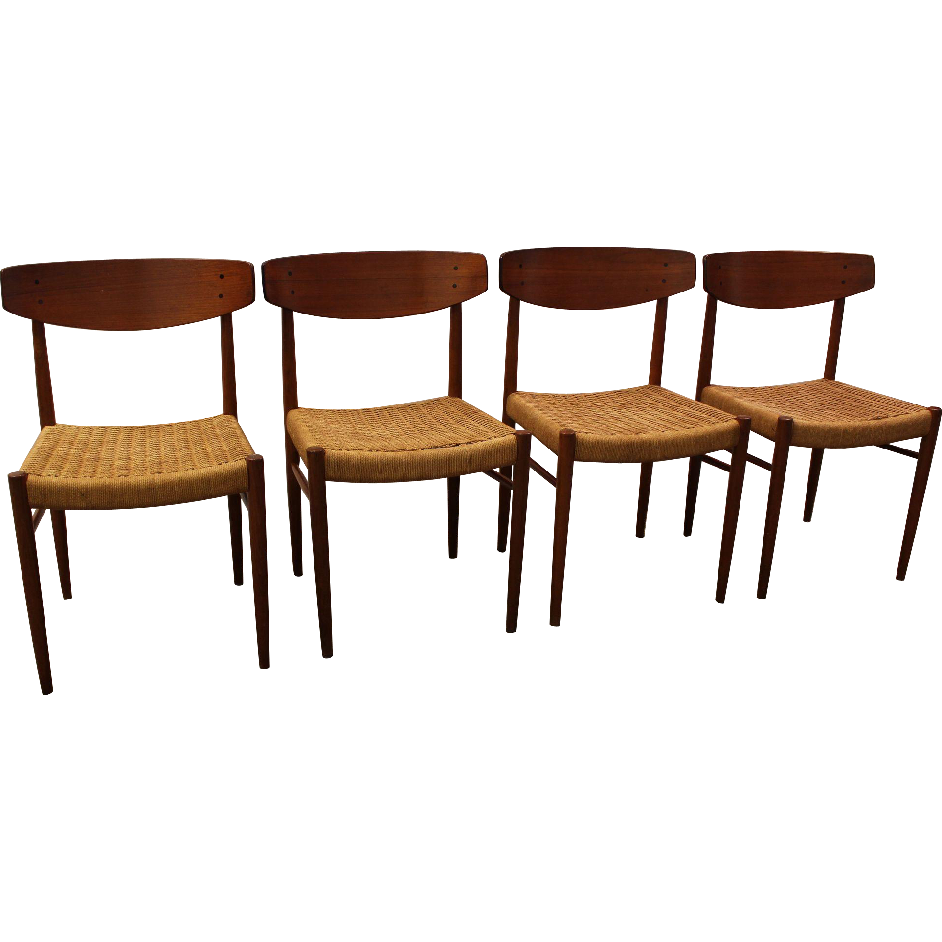 Set of 4 Mid Century Danish Modern Teak Rope Dining Chairs SOLD on
