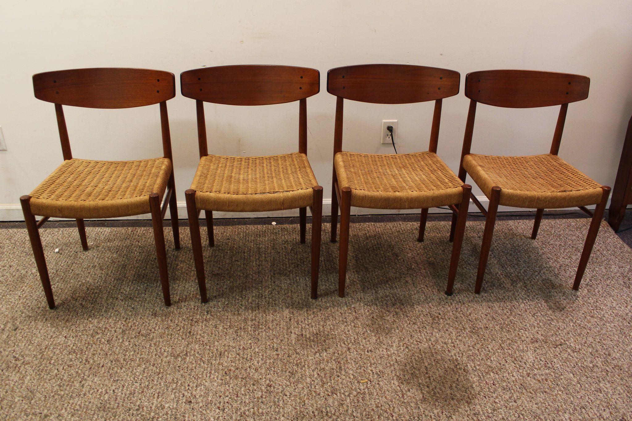 Set of 4 Mid Century Danish Modern Teak Rope Dining Chairs SOLD on