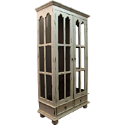 Painted Country French White Distressed Bundt Foot Pie Safe Cabinet