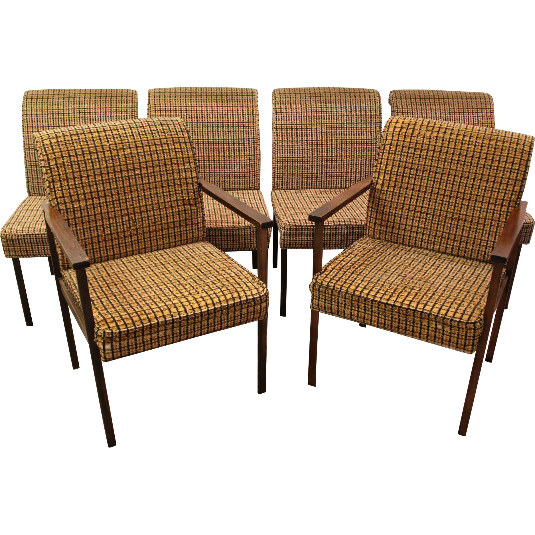 Set of 6 Mid Century Danish Modern Brass Walnut Milo Baughman