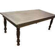 Country French Zinc Top Dining Table w/ Nail Head Siding