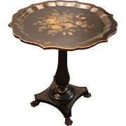 Maitland-Smith Floral Decorated Galvanized Side/Cocktail Table #3243-156
