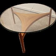 Mid Century Danish Modern Teak Seth Ellekaer Reverse Trefoil Coffee Table