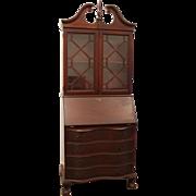 Vintage Chippendale Mahogany Bookcase/Dresser Slanted Drop-Front Secretary/Desk