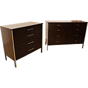 Pair of Mid-Century Danish Modern Walnut/Chrome Paul McCobb Dressers/Chests