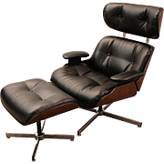 Mid-Century Danish Modern Selig Eames Bonded Leather Swivel Lounge Chair/Ottoman