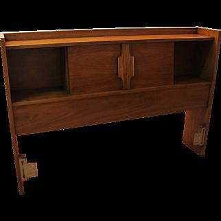 Mid-Century Danish Modern Walnut Full Size Bed' Headboard w/ Storage