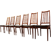 Set of 6 Mid-Century Danish Modern Teak Tapered Spindle-Back Dining Chairs