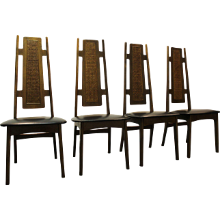Set of 4 Mid Century Danish Modern Walnut Cane High-Back Designer Dining/Side Chairs