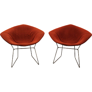 Pair of Mid Century Authentic Modern Harry Bertoia Knoll Chrome Diamond Chairs-Red