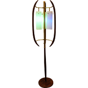 Mid-Century Danish Modern Walnut/Brass 3-Way Floor Lamp