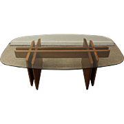 Mid-Century Danish Modern Teak Fishbone Glass Top Coffee Table
