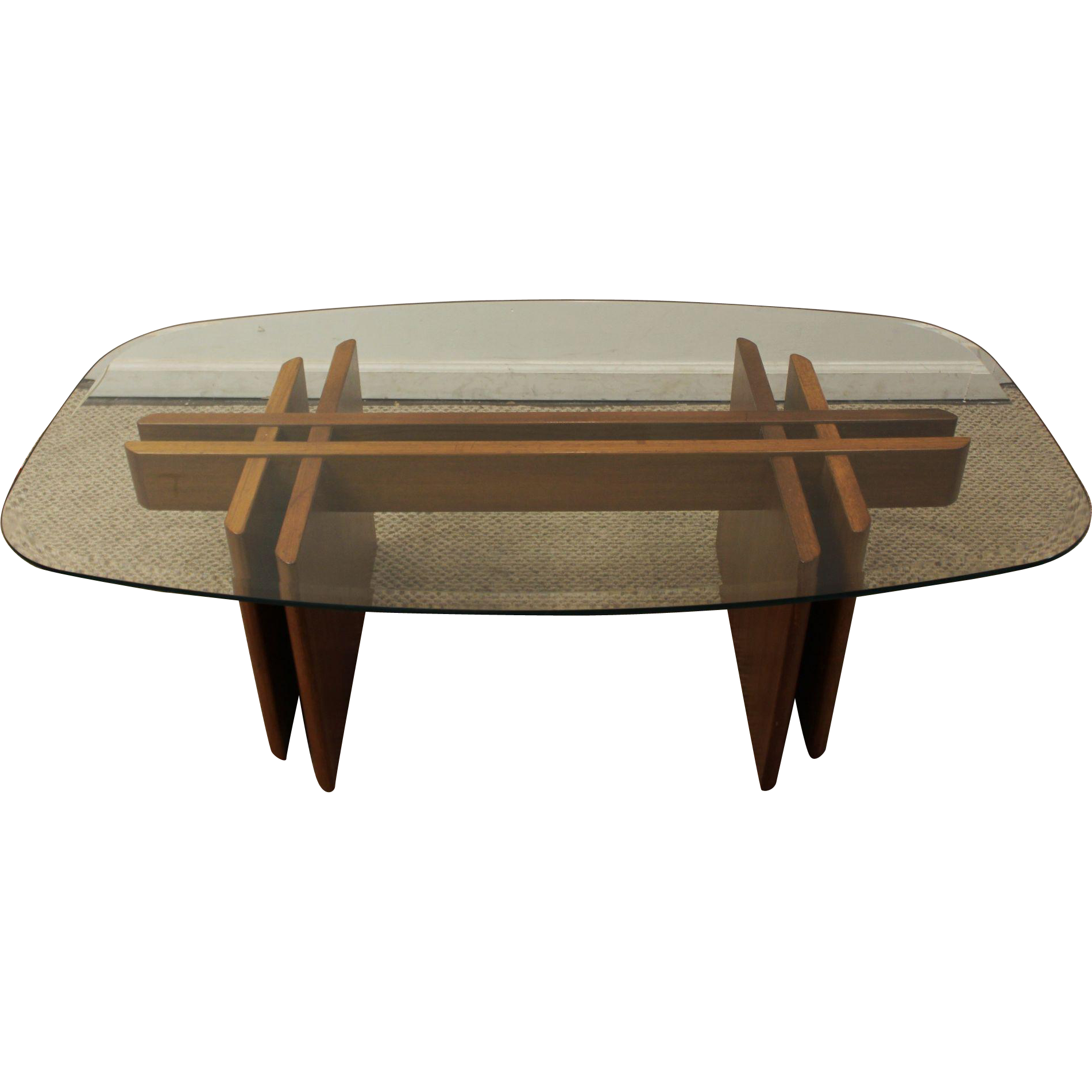 Mid Century Danish Modern Teak Fishbone Glass Top Coffee Table