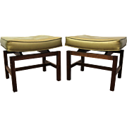 Pair of Mid Century Danish Modern Gold Jens Risom Floating Top Stools/Benches #2