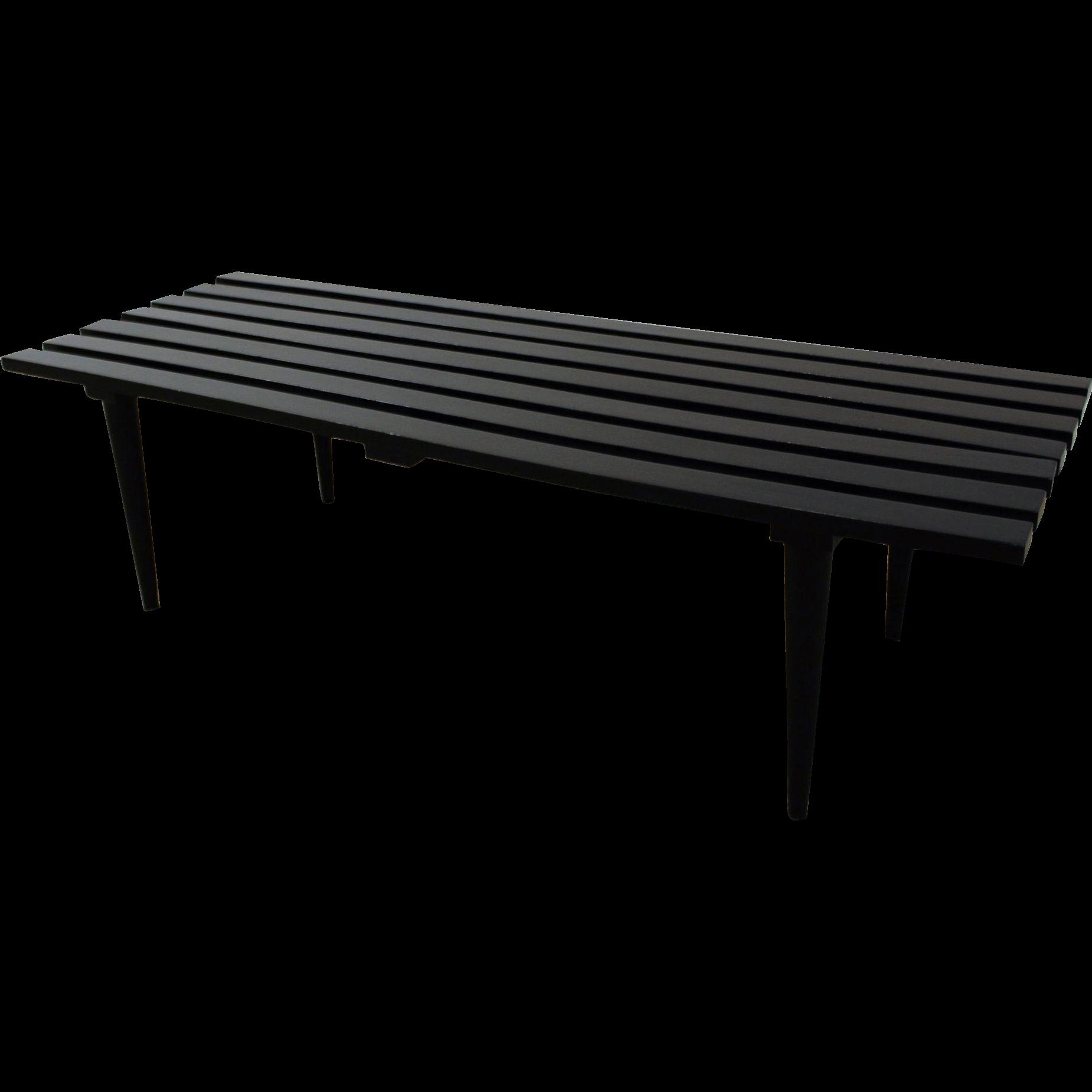 Mid Century Danish Modern Ebonized Walnut Slat Bench Coffee Table