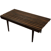 Mid Century Danish Modern Walnut Slat Bench/Coffee Table #1