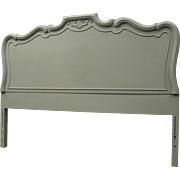 Country French Chalk Painted 'Sage' Green Carved Full Size Headboard