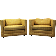 Pair of Mid-Century Danish Modern Harvey Probber-Style Square Club Chairs