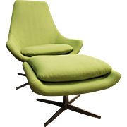 Mid-Century Danish Modern Lime Green Swivel Lounge Chair/Ottoman #2