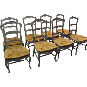 Set of 8 Country French Carved 4-Rung Rush Seat Ladderback Grey Dining Chairs